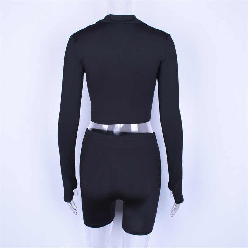Sexy 2 sztuka zestaw kobiety Zipper dres z długim rękawem Crop Top i Biker spodenki pasujące zestawy dres Sweatsuit ubrania zestawy do biegania b811