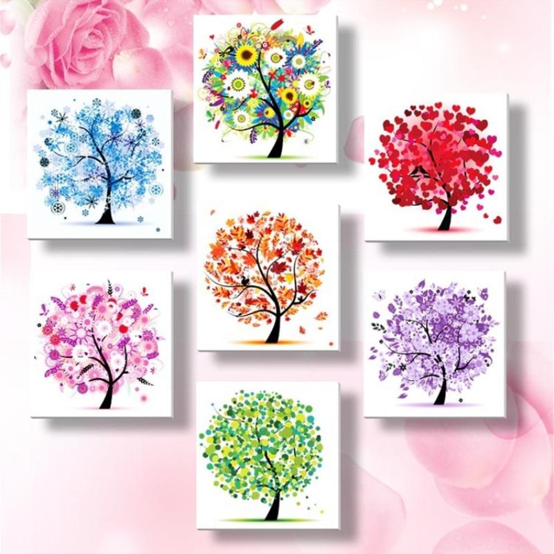 1pc Diamond Embroidery Four Seasons Trees Picture 3d Diy Diamond Painting Needlework Diamond Cross Stitch Home Decor Gift