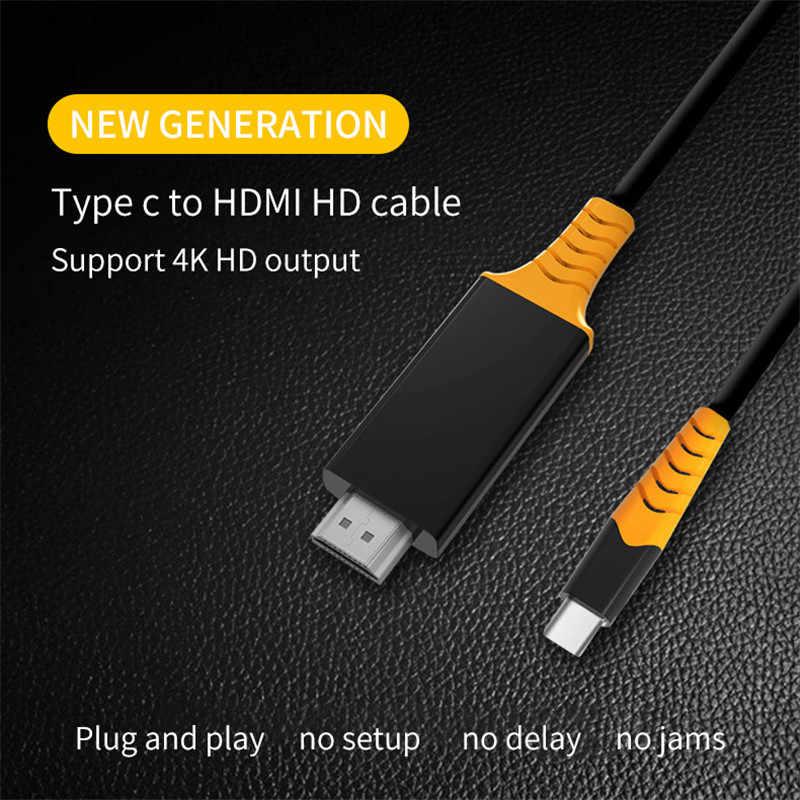 USB C إلى HDMI 4K مهائي كابلات الصاعقة 3 متوافق ل huawei mate20 ماك بوك برو 2018 ipad pro سامسونج غالاكسي S9 HDMI USB-C