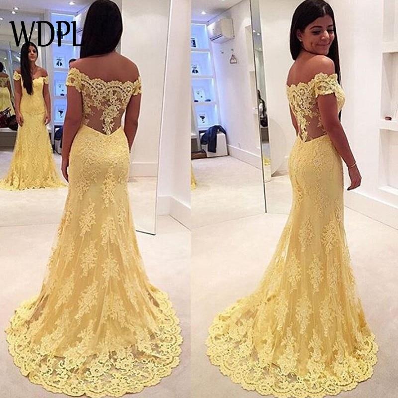 Elegant Mermaid Evening Dresses Modest Long Formal Gowns With Off Shoulder robe de soiree abendkleider Evening Dress Yellow