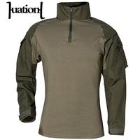 Huation Man Fitness T shirts Army Camouflage Combat Tactical T Shirt Military Men Long Sleeve Compression T Shirt Male Tshirts