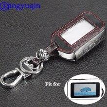 Jingyuqin 4 boutons à distance en cuir etui clés porte clés pour Starline E60 E61 E62 E90 E91 2 voies système dalarme de voiture à distance