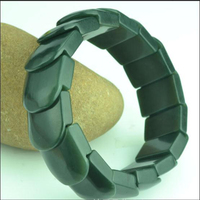 2018new natural A cargo Xinjiang Hotan green bracelet men's Square hand string widened and thickened hollowed Bracelets
