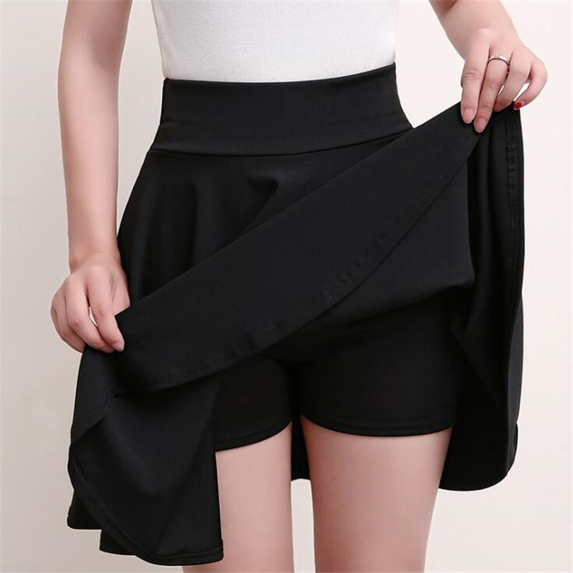 VISNXGI M-5XL Plus Size Shorts Skirts Women's Solid Mini Pleated Skirt Fashion High Waist Casual Wear Korean Short Skater Skirt
