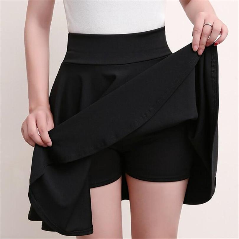 VISNXGI M-5XL Plus Size Shorts Skirts Women's Solid Mini Pleated Skirt Fashion High Waist Casual Wear Korean Short Skater Skirt