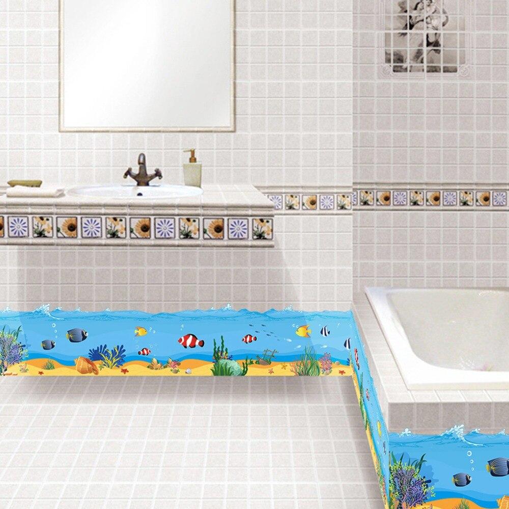 Cartoon Blue Sea Underwater World Bathroom Decor Wall Sticker ...