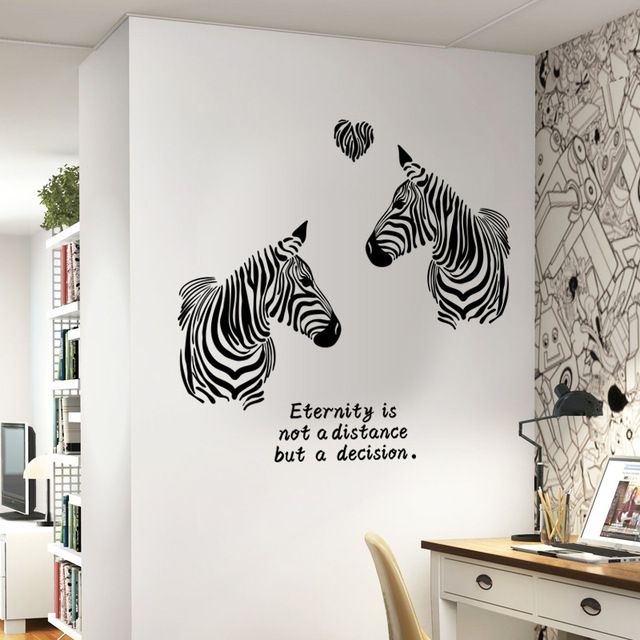 Black and white love zebras double zebra wall stickers for bedroom animal decor for marriage room