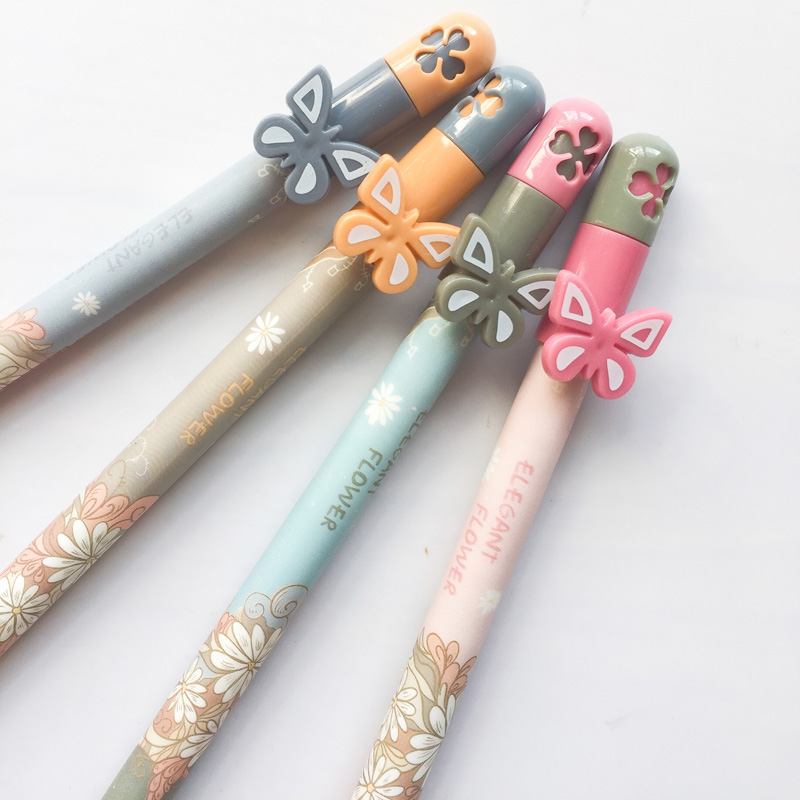 Q51 3X Sweet Butterfly & Flower Gel Pen School Office Supply Writing Student Stationery Blue Ink 0.35mm n39 3x fresh elegant sakura flower gel pen writing signing pen stationery school office supply kids student gift black ink