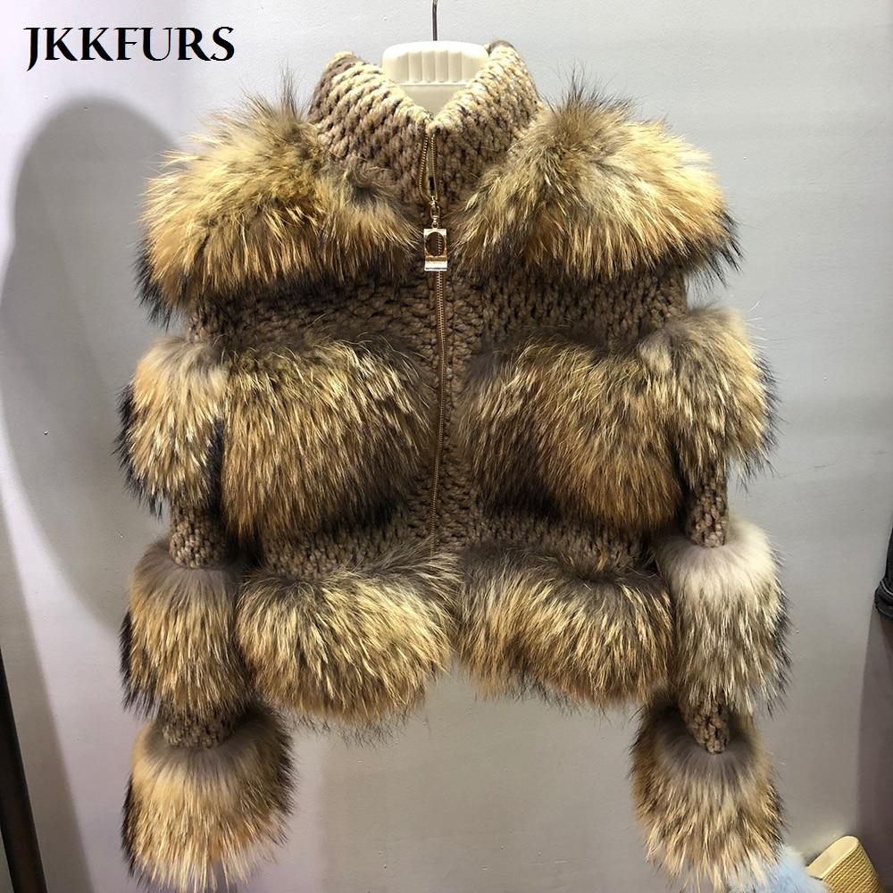 Новая женская шуба из натурального меха енота зимняя модная Толстая теплая меховая куртка из натурального меха высокого качества S7458