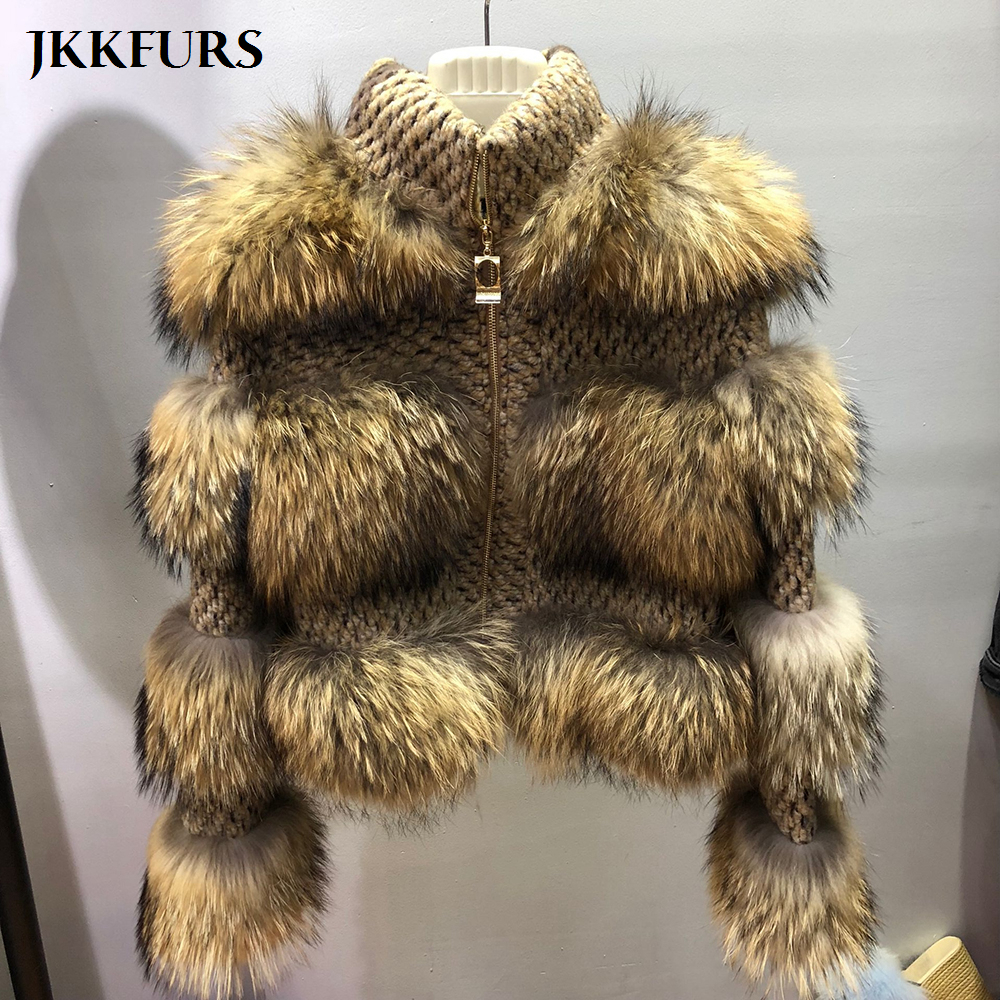 New Girls's Actual Raccoon Fur Coat Winter Style Thick Heat Fur Jacket Real Pure Fur Excessive High quality S7458