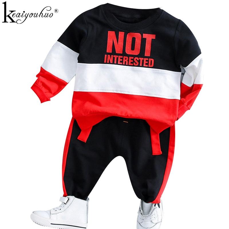 KEAIYOUHUO אביב 2018 תינוקת בגדי קריקטורה תינוק חולצה + מכנסיים כותנה שני חלקים ארוך שרוול תלבושת חליפת תינוק ילד בגדים