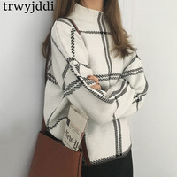 2018 Shirt Striped Ladies Long Sleeve Knitted Sweater Tops Loose Pullovers Outwear Coat Oversized Autumn Winter Sweaters hl250