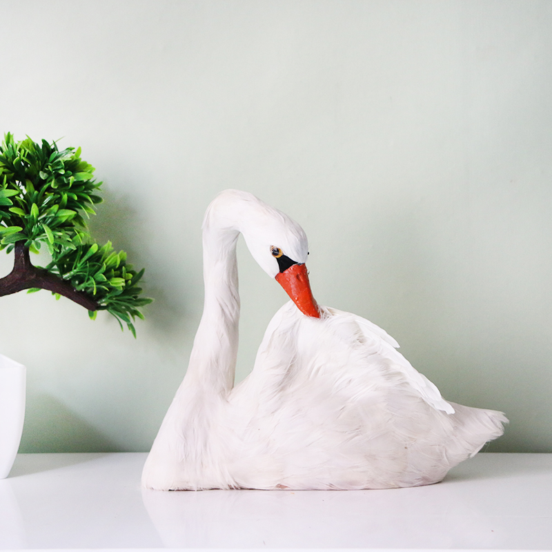 large 25x20cm simulation white swan model foam&feathers swan bird handicraft home decoration gift s2670 simulation owl toy black feathers night owl bird large 34cm hard model home decoration birthday gift h1150