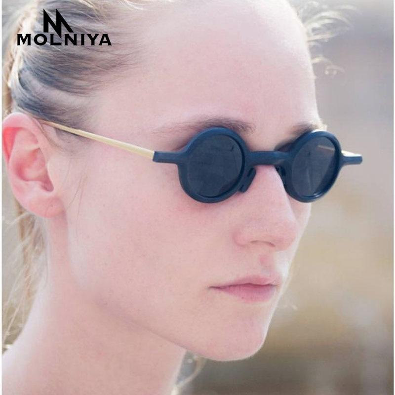 MOLNIYA 2018 Steampunk small Round Sunglasses Men Women New Brand Anti-UV Metal Frame Retro Sun Glasses Mirror gafas de so