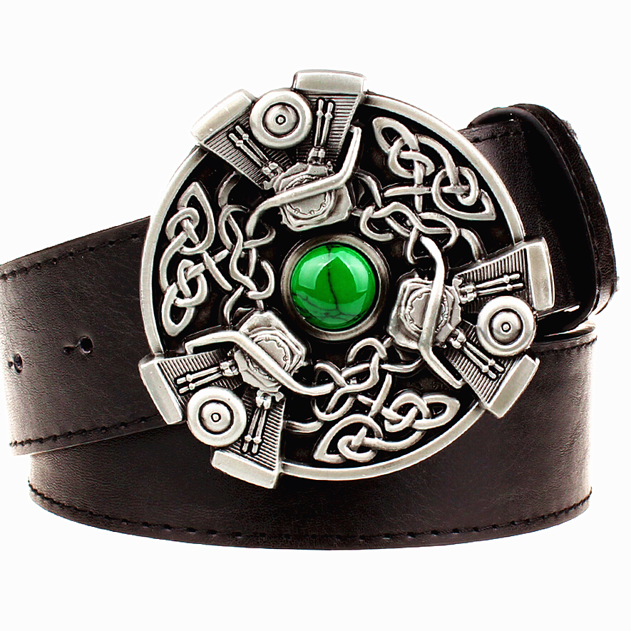 Retro women leather   belt   metal buckle carve Celtic knot pattern weave   belts   trend punk rock strap decoration   belt   gift for women