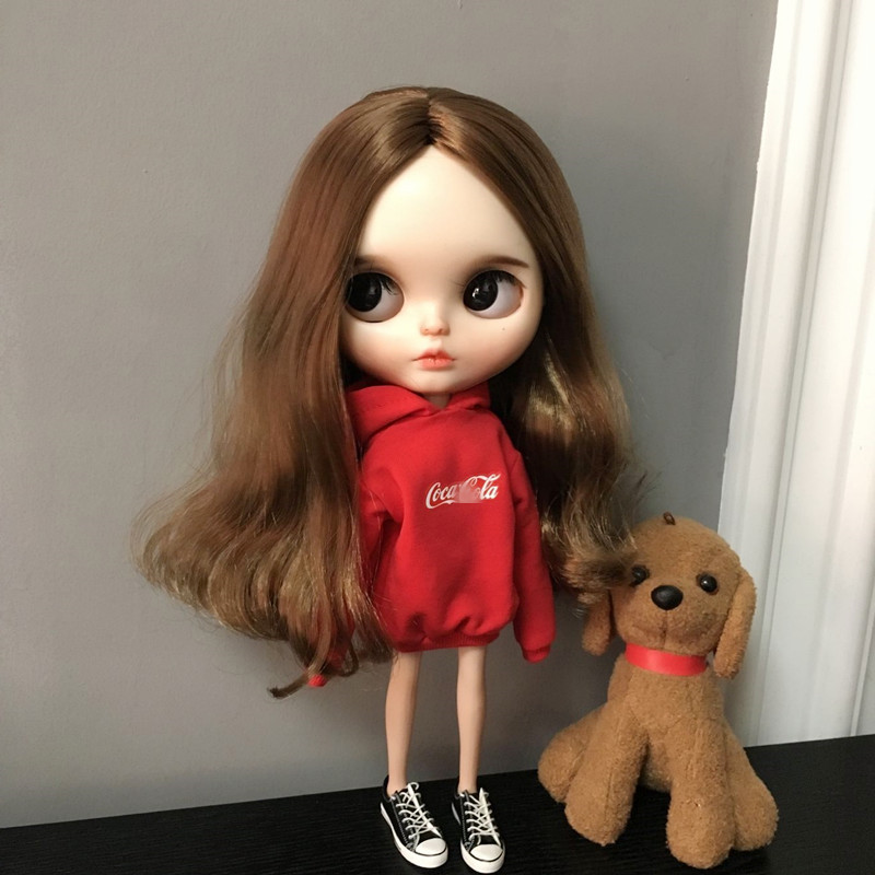1/6 Fashion Doll Hat Hoodie Blyth Clothes For Pullip Red Sweatshirt For Blyth Licca Ob24 30cm Doll Accessories For Barbie Doll