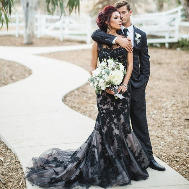 Appliques Black Lace Wedding Gown Mermaid Tulle Black Gothic Wedding ...