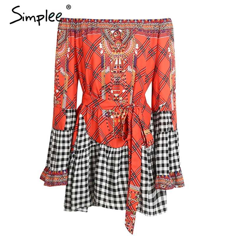 Летнее женское платье Simplee с оборками, лоскутное винтажное этническое короткое платье с поясом и открытыми плечами