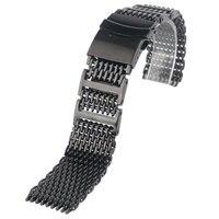 素晴らしい黒ステンレス鋼メッシュ時計バンド男性女性20ミリメートル22ミリメートル24ミリメートル時計ストラップ腕時計交換+ 2春バ