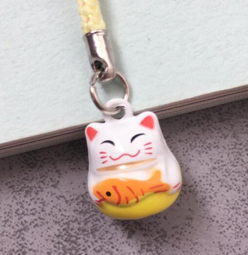 Takı ve Aksesuarları'ten Anahtar Zincirleri'de Yeni 100 Adet sevimli şanslı kedi çan cep telefonu askısı Charms Anahtarlıklar Anahtarlık DIY Takı Yapma Aksesuarları Ty 304'da  Grup 2