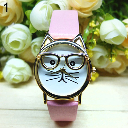 Women's Men's Cute Glasses Cat Case Faux Leather Analog Quartz Bracelet Wrist Watch   Top-sale