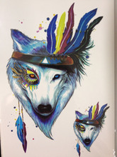 HOT SALE Blue Wolf With Feather Sexy Cool Beauty Tattoo Waterproof Hot Temporary Tattoo Stickers #179