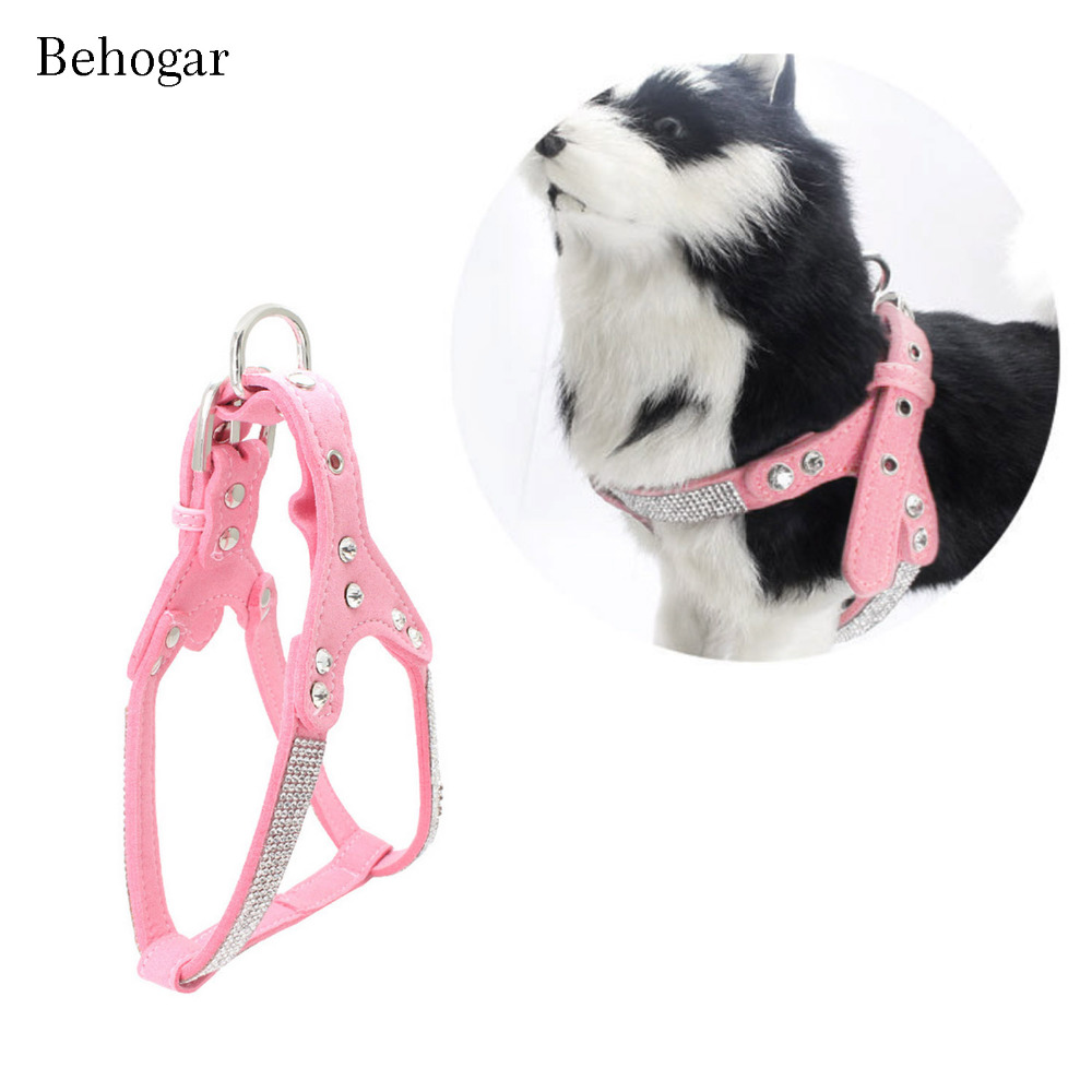Behogar Soft Breathable Adjustable Safety Dog Harness Rhinestone Chest Strap Pet Supplies for Dogs Puppy Cachorro Size S/M/L