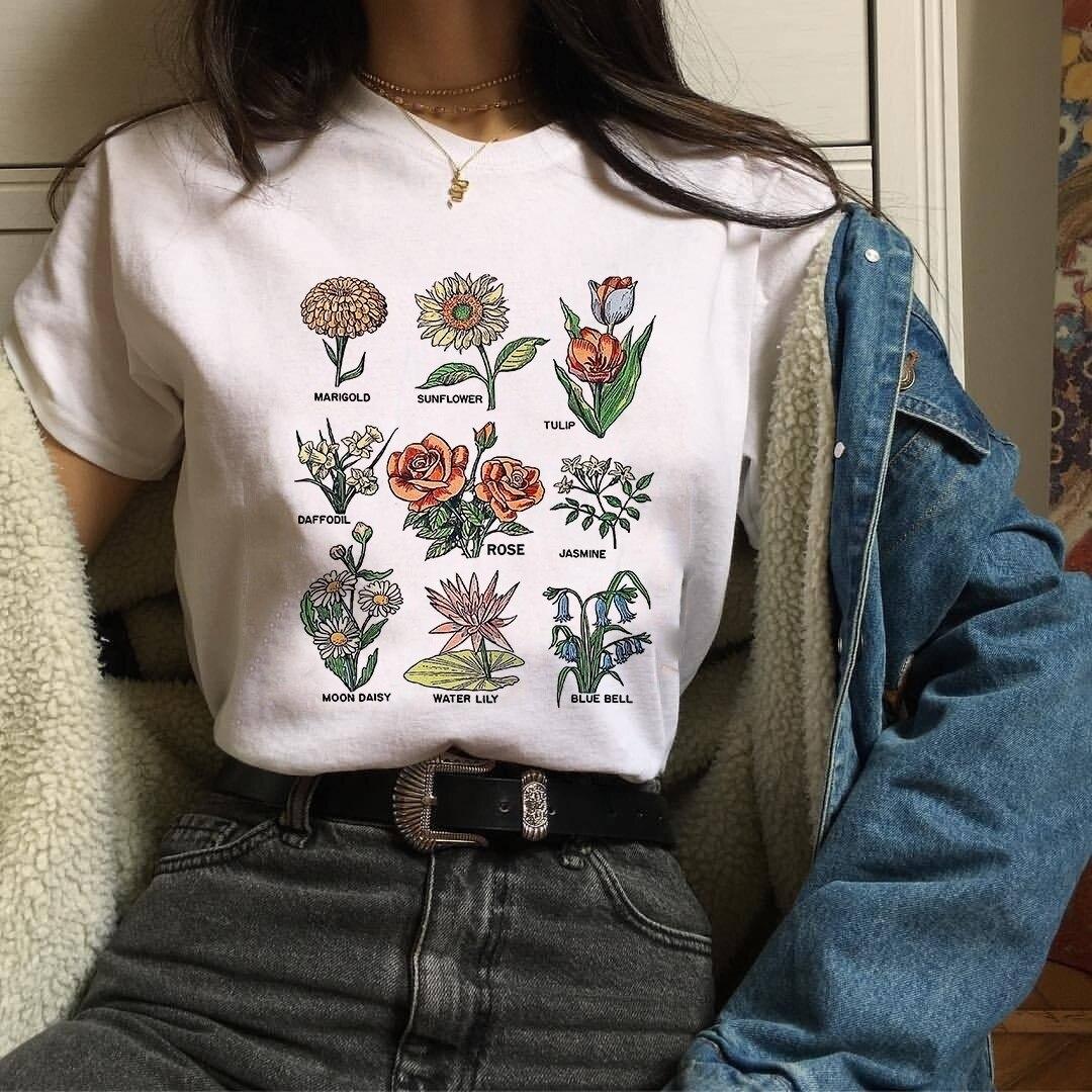 Pudo Hjn Mujeres Tumblr Moda Vintage Floral Flores Camiseta Estetica