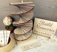 קישוט החתונה DIY מתנות למזכרת Figuriens עץ קישוט בית אמנות עץ מודרני דקו חתונה ספר אורחים לבית דקו