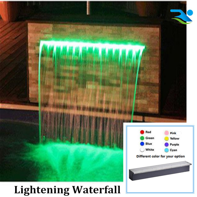 600mm Lenght 150mm Long Lip Swimming Pool Waterfall With Led Remote Light Fashion Waterblade
