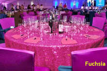B·Y 50inch-125cm Round Sequin Tablecloth Fuchsia Table Cover for Christmas Party Wedding decor-9525