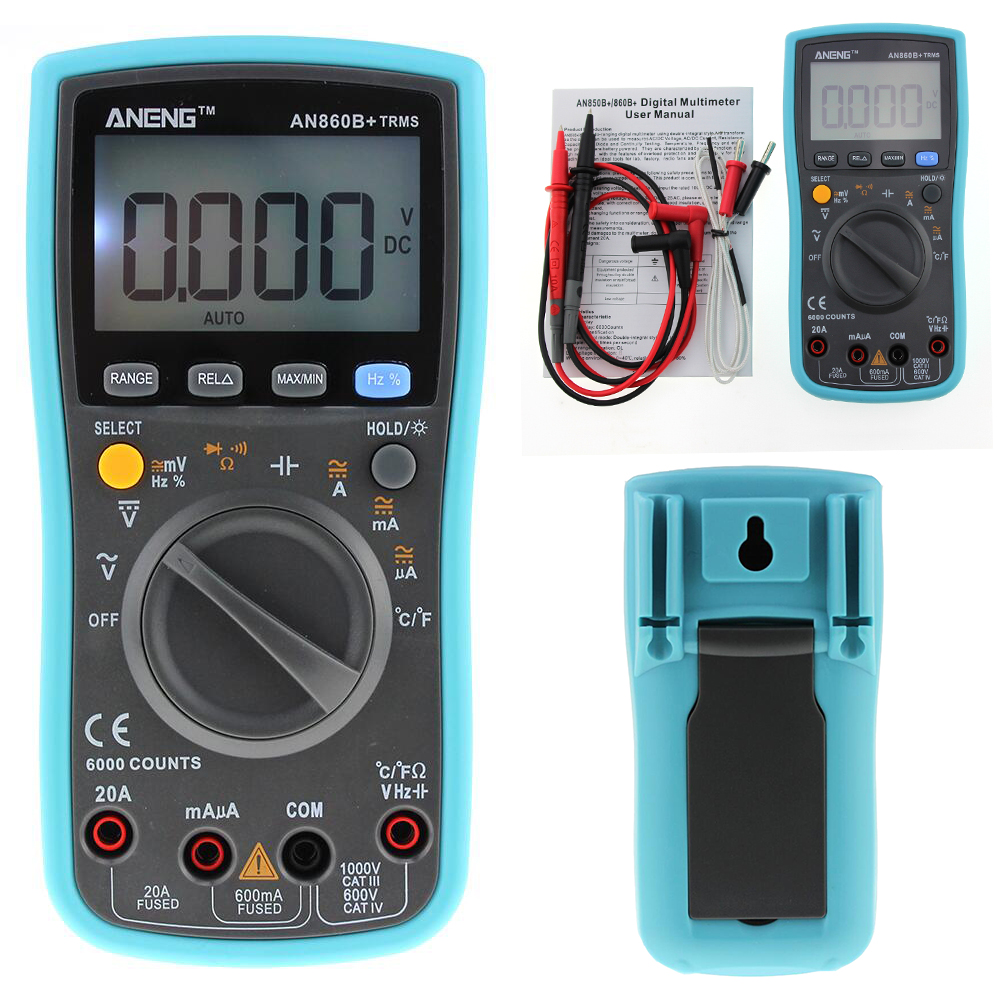 ANENG 6000 counts LCD Digital Multimeter DMM with  Detector DC AC Voltage Current Meter Resistance Diode Capaticance Tester bside adm04 lcd digital multimeter mini pocket 2000 counts dmm dc ac voltage current meter diode tester auto ranging multimetro