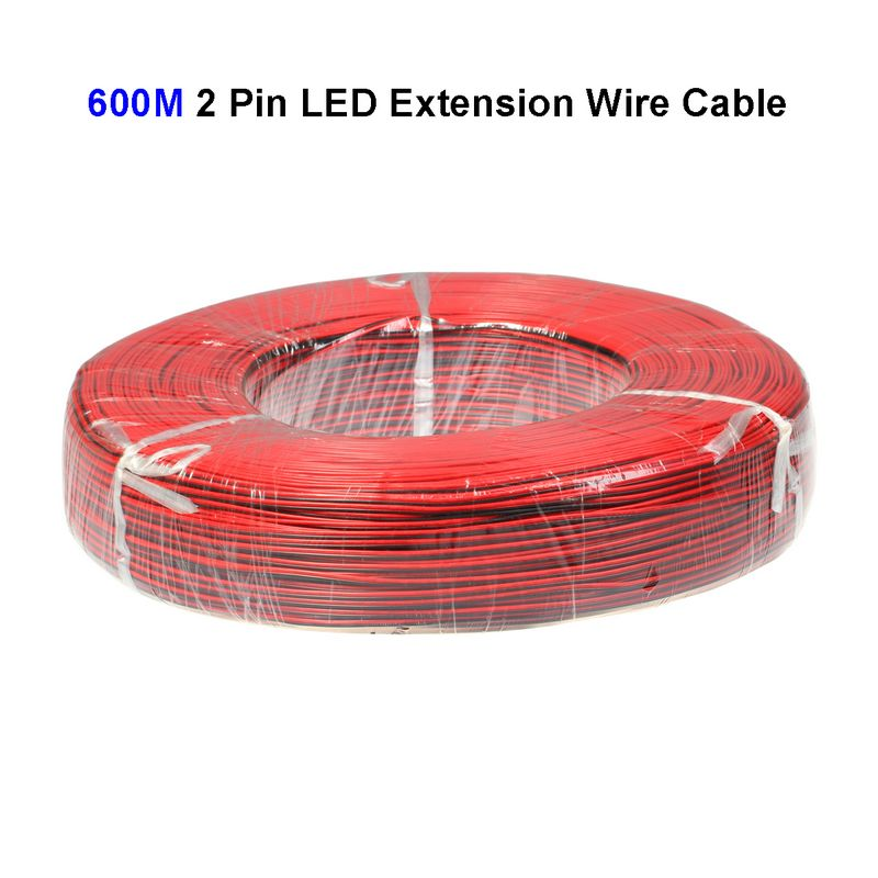 3roll 600M 22AWG 2 Pin LED Extension Wire Connector Cable Cord For SMD 3528 5050 5730 5630 Single Color LED Strip