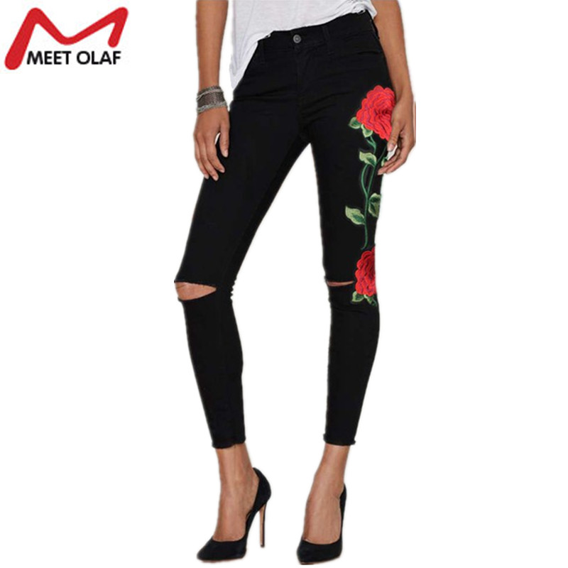 2017 Ripped Jeans For Women Rose Embroidery Skinny Long Denim Pencil Pants with Hollow out Holes Vintage Stretch Trousers YL603 skinny jeans women denim pants holes destroyed knee pencil pants casual trousers white stretch ripped jeans top007 w