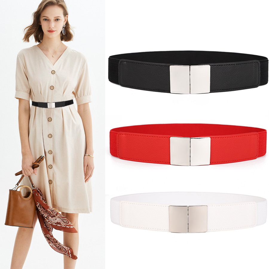 New Elastic Belt Ladies Thin Waistbands For Women Decorative Dress Long Shirt Silver Buckle Waistband Black Stretch Cummerbunds