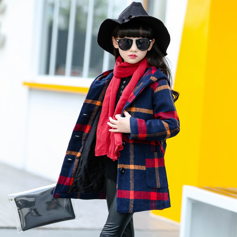 2018 New Girls Autumn Spring Wool Coat Kids School Long Sleeve Plaid Hooded Jackets Kid Fashion Clothes Kid Wool Long Coats plaid long sleeve belted midi dress
