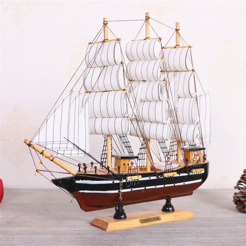 Exquisite Handmade Wooden Sailing Boats Retro Ship Model Wood Decoration Sailboat Birthday Gift Souvenirs kids Home Decor Crafts