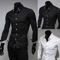 Caliente venta nuevo 2015 de la alta calidad para hombre del diseñador Stripes Dress Shirts Tops Casual camisas largas delgadas 2 colores envío gratis