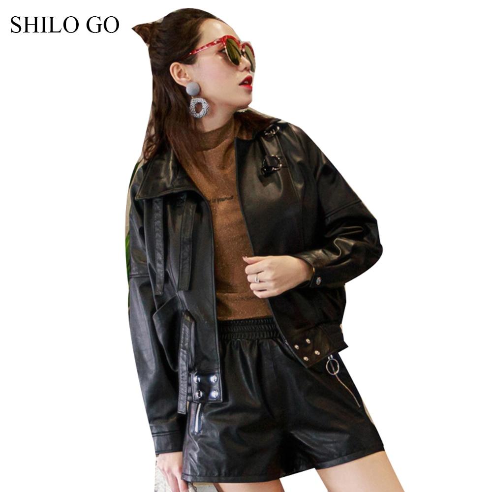 Shilo Véritable Collarr Ample Printemps De Avant Peau En Ceinture Manteau Cuir Causalité Veste Femmes Mode Aller Stand Bouton Mouton rnUx8OXvrw
