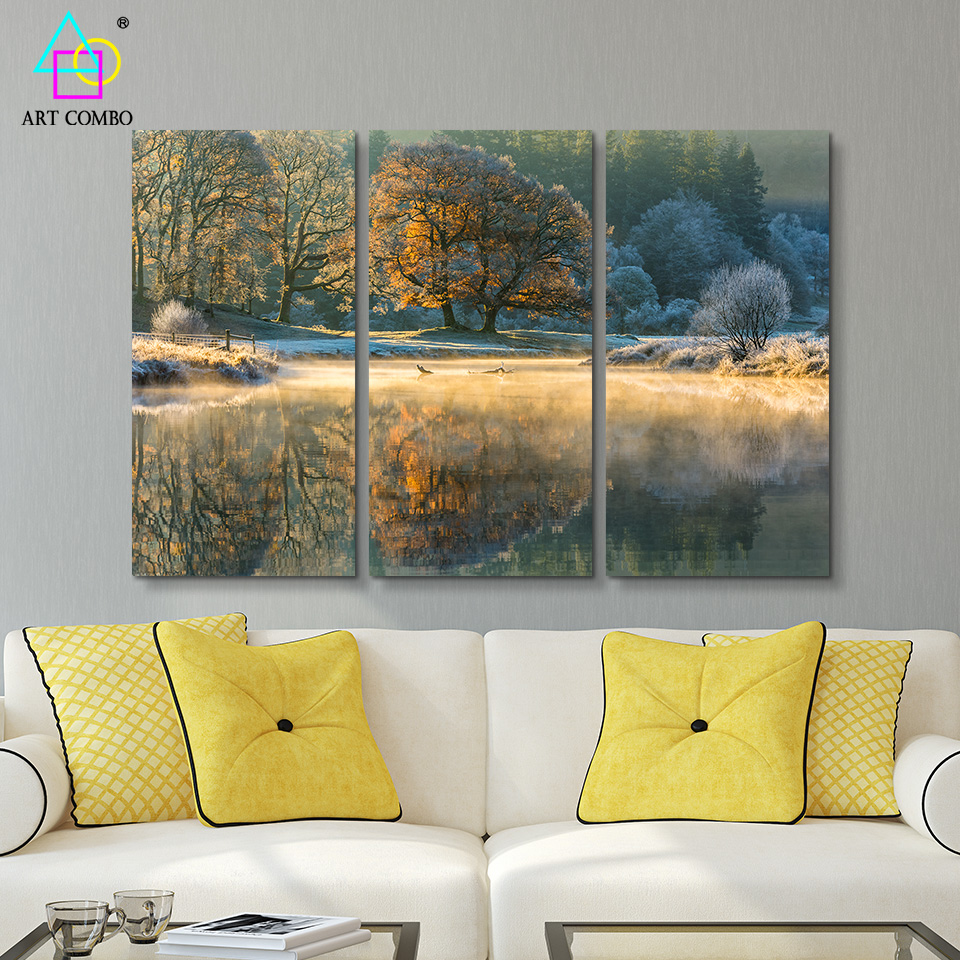 3 pieces unframed landscape lake reflects the tree canvas painting wall art picture homeroom decor posters