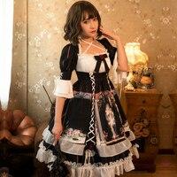 Lolita Dress Halloween Casual Victorian Dress Black Lolita Blouse Women Three Quarter Girls Victorian Dress