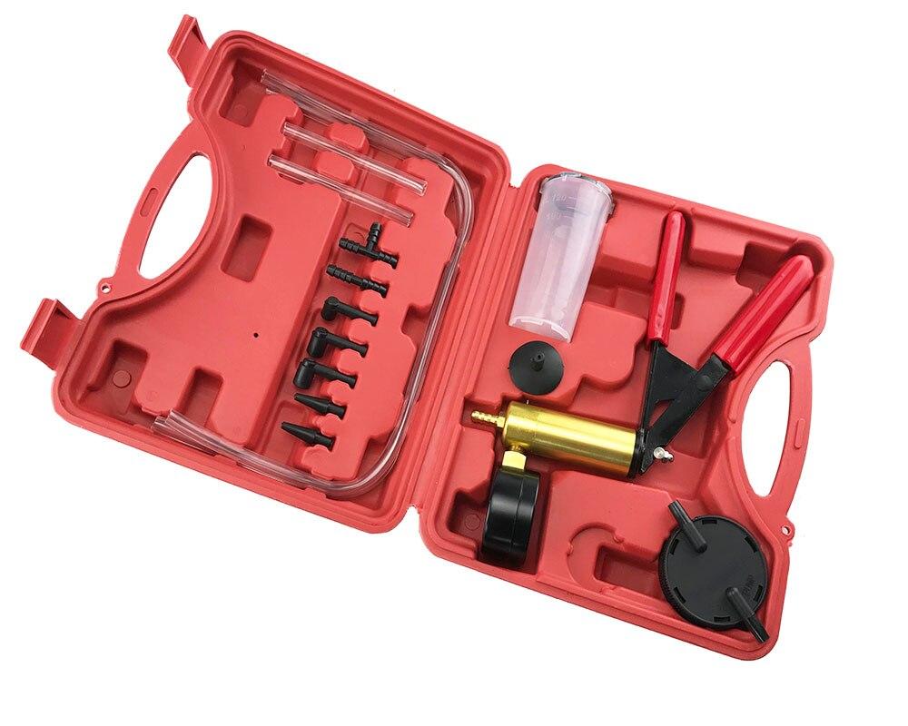 Car Auto Hand Held Vacuum Pistol Pump Brake Bleeder Adaptor Fluid Reservoir Tester Kit 2 in 1 Tool Kits