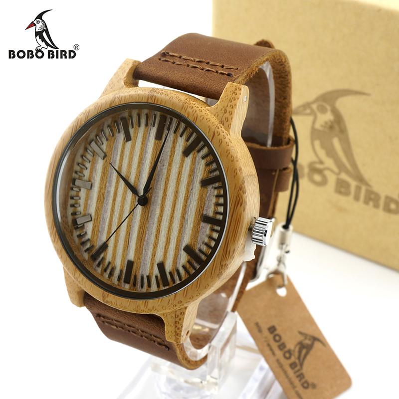 Prix pour Bobo bird a20 a21 en bois occasionnels montre hommes bambou montres à quartz avec Sangles En Cuir relojes mujer marca de lujo Avec Boîte-Cadeau