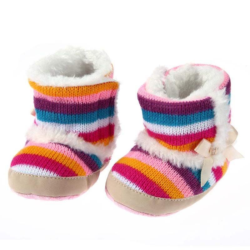 2017 Winter Warm Baby Prewalker Boots Rainbow Stripe Infant Toddler Non Slip Fleece Thicken Shoes Newborn Soled Shoes Sneakers