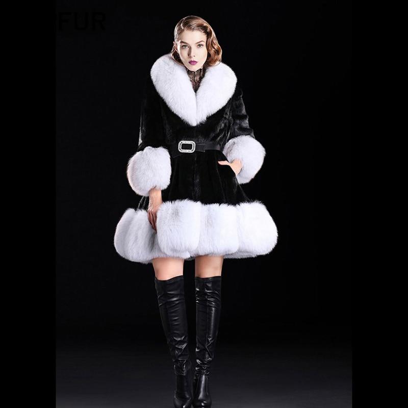 TOPFUR New 2018 Women Real Fur Coat Winter Top Quality Fur Coat Luxury Fashion Woolen Fur Coat With Fox Fur Collar And Cuff