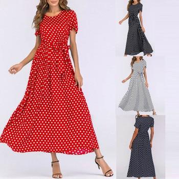 Vestido Largo Maxi de las mujeres de la moda de manga corta para playa de lunares Vintage, vestidos elegantes de mujer