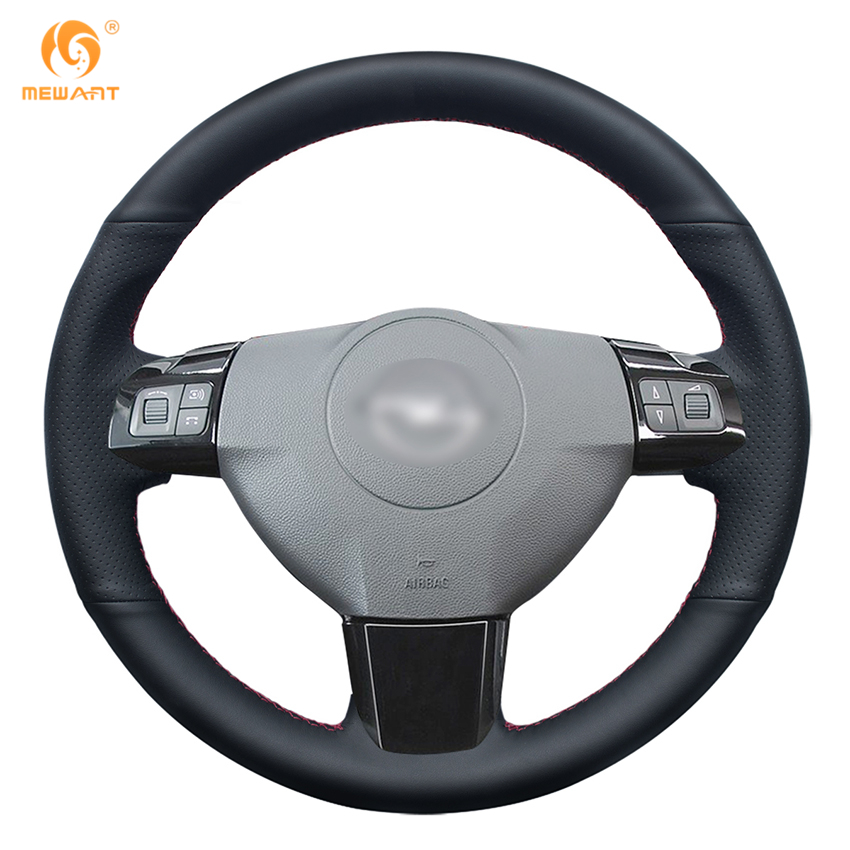 MEWANT Black Genuine Leather Car Steering Wheel Cover for Opel Astra 2004 2005 Opel Corsa 2009 Opel Zaflra 2004-2006 mewant black genuine leather car steering wheel cover for old kia sorento 2004 2008