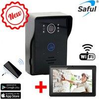 Горячая беспроводная Wi Fi видеодомофон + Внутренний дверной звонок + 7 планшет wifi дверной Звонок камера система с ночного видения