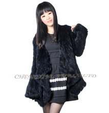 CX-G-A-168 Knitted Women 2015 Fashion Genuine Rabbit Fur Coat