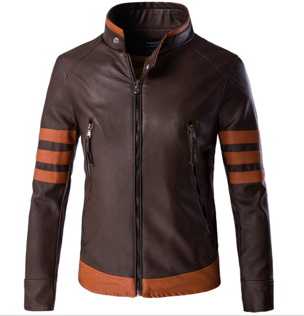 2016 Autumn New Star Style Fashion Motorcycle Leather Jacket  Vintage Stand Collar Zipper Jackets Plus Size M-5XL